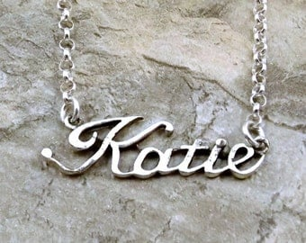 Sterling Silver Name Necklace -Katie - on Sterling Silver Rolo Chain in Length of Choice -1836