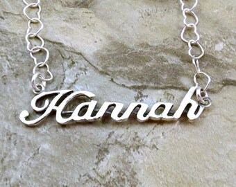 Sterling Silver Name Necklace -Hannah- on Sterling Silver Heart Chain in Length of Choice -3173