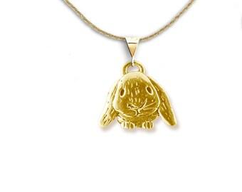 14K Gold Lop-Eared Rabbit Pendant