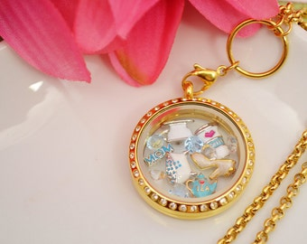 Mothers Day floating locket with crystals and charms chic vintage fashion UK