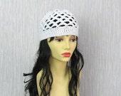 WHITE cotton BEANIE hat for Kundalini sadhana Kufi hat Crochet Cotton hat Skullcap scalloped