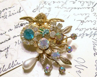 Floral Angel Collage Pin Brooch -Upcycled - Vintage