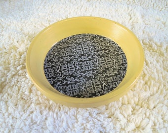Yellow Floral Geometric Print Hand Painted Terra Cotta 5 inch Coaster Dish Home Decor