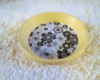 Yellow Floral Print Hand Painted Terra Cotta 5 inch Coaster Dish Home Decor