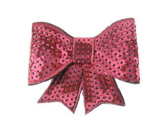 Pink Sequin Bow Hair Clip, Pink Hair Bow