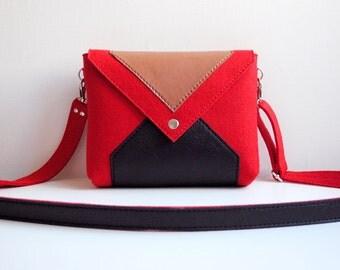 Red Black Brown Wool Felt Genuine Leather Messenger Crossbody Bag