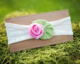 Ema Jane - Shabby Chic Headband (Bubblegum Pink Rose on White)