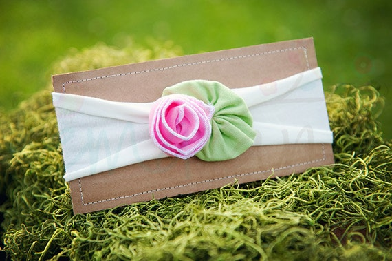 Ema Jane - Shabby Chic Headband (Bubblegum Pink Rose on White)