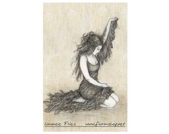 SWANMAIDEN II. Fine Art Giclée Print on Wood. Hand Colored Pencil Drawing by Laumee. Small Art Print. Fairytale. Wall Art. Earth color.