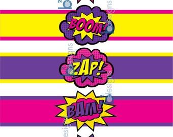 Superhero Waterbottle Labels • Pow! Boom! Zap! Pop! Bam! • GV1 Color • INSTANT DOWNLOAD