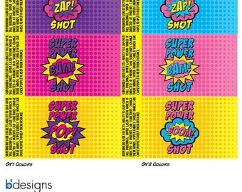 Superhero Jello Shots labels (GV2) INSTANT DOWNLOAD