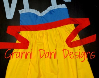 snow white  inspired halter twirl dress 6 12 18 24 months 2t 3t 4t 5t  baby toddler girl princess everyday blue light blue yellow red