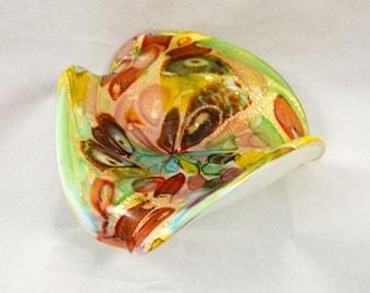 Murano Art Glass Multi-color Fluted Dish c.1960