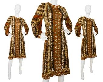 Averardo Bessi 1970s Vintage Silk Dress Copper Brown Signature Print US 10 Large
