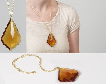 Amber Gold Glass Crystal Chandelier Pendant Necklace w/ Yellow Gold Metallic Chain Faceted Geometric Prism French Fleur de Lis