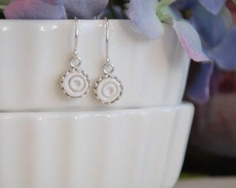 Dainty Round Bezel Earrings - Argentium Silver ear wires.