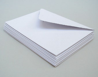 White envelopes, handmade recycled paper, 5x7 inches, set of 10