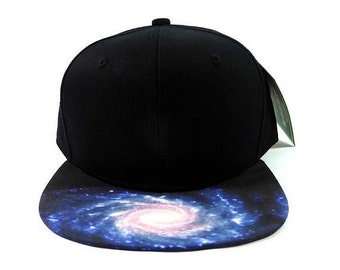 Custom Embroidery Black Blue Cosmic Hat Snapback Milky Way Galaxy
