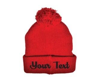 Personalized Throwback Red Beanie Skull Cap Pom Pom Custom Embroidery