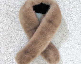 Vintage 1960s AUTUMN HAZE Buff Brown MINK Fur Scarf Collar Stole Wrap with Brown Velvet Straps & Clip Holders..Avant Garde