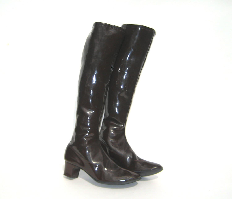 1960s brown vinyl gogo boots vintage go go boots 60s mod