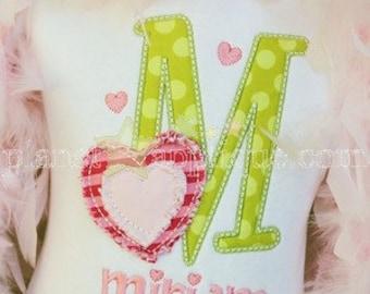 Valentines Day Shabby Heart Alpha custom shirt