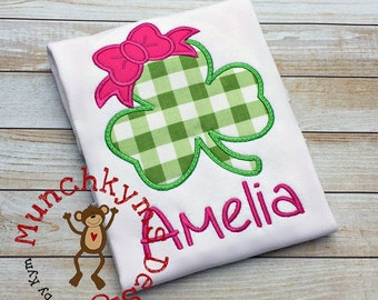 St Patrick's Day Clover with Bow - Custom monogram - Infants to Adults