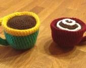Crocheted cup of coffee pincushion
