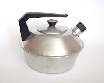 Vintage German Aluminium Teapot with Whistle. Aluminium Kettle Marked