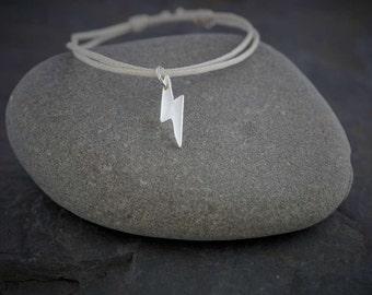 Silver lightning bolt charm bracelet   PMC Fine silver charm  Handmade Recycled Silver Jewellery