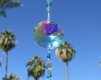 Aqua Suncatcher with Faceted Crystal Prism