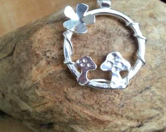Mushroom Pendant, Toadstool Pendant, Mushroom Jewelry, Mushroom Pendant, Hoop Necklace