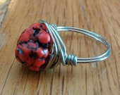 Red Turquoise Wire-Wrapped Ring