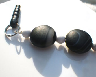 Black Lace Agate & Howlite Cell Phone Charm