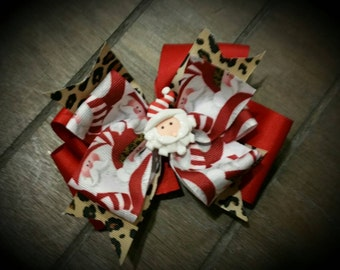 M2M Santa with Leopard  accent Boutique Hairbow for Infants, Toddlers  and Girls!