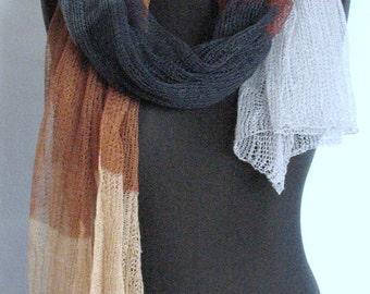 Linen Scarf Shawl Wrap Stole Beige Brown Gray White Multicolored, Light, Transparent. . . SALE