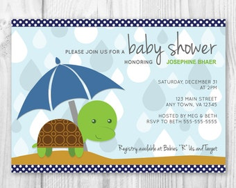 printable turtle themed boy baby shower invitation