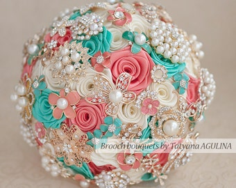 Brooch bouquet. Coral, Ivory and Mint wedding brooch bouquet, Jeweled Bouquet. Quinceanera keepsake bouquet, Bridesmaid bouquet