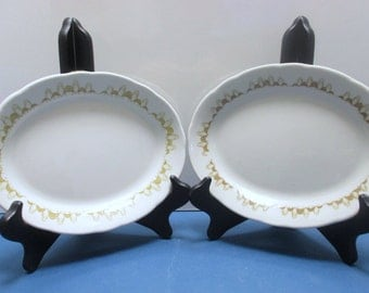 Buffalo China Atomic Mustard Gold Retro Diner Restaurant Ware - Set of 2 - Colonnade Pattern Small Platters