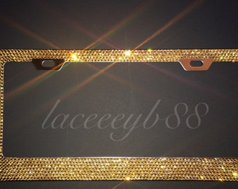 7 row gold swarovski license plate frame