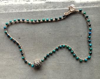 Thai Silver and Jasper Crochet Necklace