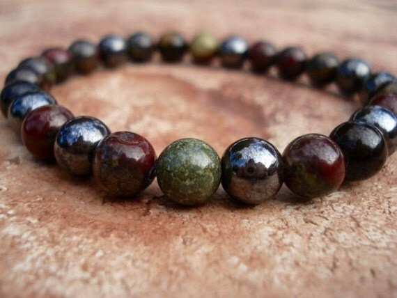 Blue Tiger Eye Bracelet, Dragon Blood Jasper Bracelet, Hematite Bracelet, Men Jewelry, Beaded Bracelet, Gemstone Bracelet, Stretch Bracelet