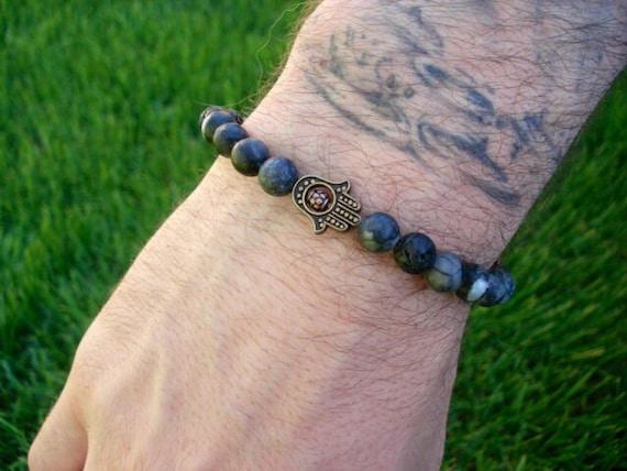 Hamsa Bracelet, Lava Bracelet, Beaded Bracelet, Hand of Fatima Bracelet, Spiritual Jewelry, Mens Bracelet, Womens Bracelet, Healing Bracelet