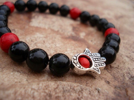 Hamsa Bracelet, Mens Black Bracelet, Obsidian Black Red Bracelet, Spiritual Jewelry, Faith Jewelry, Gemstone Bracelet, Stretch Bracelet
