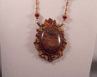Copper metallic cabochon necklace - Vintage