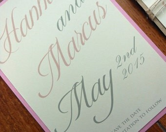 Pink and Kraft Brown Save the Date - Twine Rustic Country Wedding