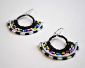 Masai Inspired Tribal Pattern Beaded Fan Earrings - Africa Inspired Handmade Jewelry - Summer Finds - Handmade Jewelry
