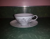TEMPO COFFEE CUP  with saucer by Meito Japan fine china cream tone platinum trim mid century modern