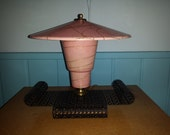 Asian ATOMIC Cone TV LAMP pink fibreglass shade shot with gold mid century modern 1950s
