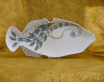 Handpainted porcelain fish-shaped tray
